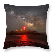 Nubble Light Milky Way Rising Throw Pillow
