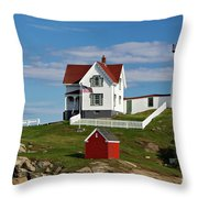 Nubble Lighthouse - D002365 Throw Pillow by Daniel Dempster