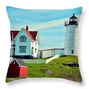 Nubble Lighthouse II Throw Pillow