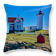 Nubble Lighthouse, Maine I Throw Pillow