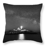 Nubble Lighthouse Milky Way Pano Bw Throw Pillow