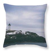 Nubble Lighthouse Overcast  Throw Pillow