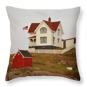 Nubble Lighthouse Shed And House Throw Pillow