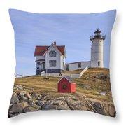 Nubble Lighthouse York Maine Throw Pillow