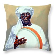 Nubian Musician Player Playing Duff Throw Pillow