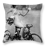 Nude And Bicycle, C1900 Throw Pillow