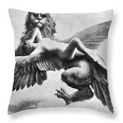 Nude And Griffin, 1890s Throw Pillow