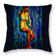 Nude Female Figure Portrait Artwork Painting In Blue Vibrant Rainbow Colors And Styles Warm Style Undersea Adventure In Blue Mythology Siren Women And Not Sensual Throw Pillow