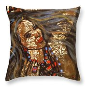 Nude Henna Throw Pillow