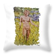 Nude In Field Throw Pillow