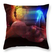 Nude In Glitchscape Throw Pillow