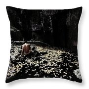 Nude In Monochrome  Leaf Pool Throw Pillow