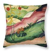 Nude Lying In The Flowers 1910 Throw Pillow