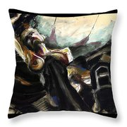 Nude With Chaps On Harley Throw Pillow