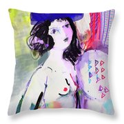 Nude With Flower Hat Throw Pillow
