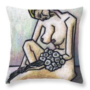 Nude With White Flowers Throw Pillow