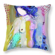 Nude With Yellow Stripe Throw Pillow