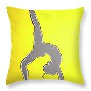 Nude Yoga Girl Gray Throw Pillow