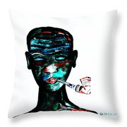 Nuer Lady With Pipe - South Sudan Throw Pillow