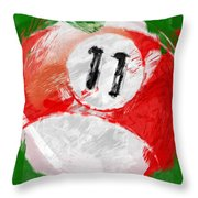 Number Eleven Billiards Ball Abstract Throw Pillow by David G Paul