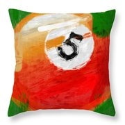 Number Five Billiards Ball Abstract Throw Pillow