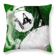 Number Fourteen Billiards Ball Abstract Throw Pillow