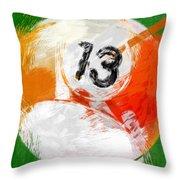 Number Thirteen Billiards Ball Abstract Throw Pillow