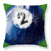Number Two Billiards Ball Abstract Throw Pillow