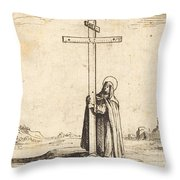 Nun Embracing The Holy Cross Throw Pillow