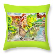 Nuremberg, Hand Drawn Picture Throw Pillow
