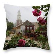 Nursery Garden Roses Throw Pillow