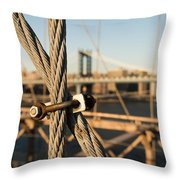 Nuts And Bolts Of The Brooklyn Bridge Throw Pillow