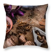 Nuts And Spices Series - Three Of Six Throw Pillow