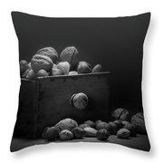 Nuts In Black And White Throw Pillow