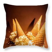 Nuts Over Ice-cream. Birthday Party Background Throw Pillow