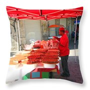Nuts Seller Throw Pillow
