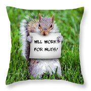 Nutty Squirrel Throw Pillow