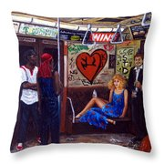 Ny City Subway In The 70 Throw Pillow