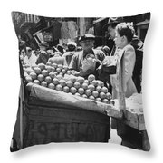 Ny Push Cart Vendors Throw Pillow