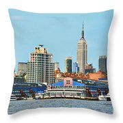 Ny Skyline And Chelsea Piers Throw Pillow
