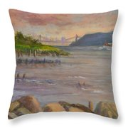 Ny Skyline And Gwb From Hastings On Hudson Throw Pillow