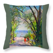 Nyack Park A Beautiful Day For A Walk Throw Pillow by Ylli Haruni