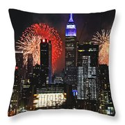 Nyc 4th Of July Fireworks Throw Pillow