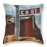 Nyc 8th Street Throw Pillow by Debbie DeWitt