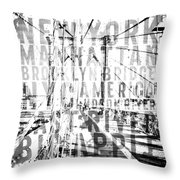 Nyc Brooklyn Bridge Typography No2 Throw Pillow by Melanie Viola