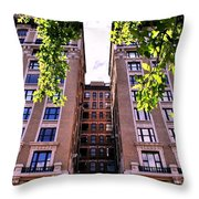 Nyc Building With Tree Overhang Throw Pillow