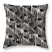 Nyc Fire Escapes Throw Pillow