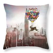 Nyc Hare Day Throw Pillow