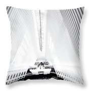 Nyc- Inside The Oculus In Black And White Throw Pillow