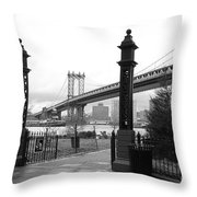 Nyc Manhattan Bridge Bw Throw Pillow